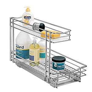 Lynk Professional Roll Out Under Sink Cabinet Organizer - Pull Out Two Tier Sliding Shelf - 11.5 inch wide x 18 inch deep - Chrome