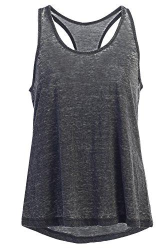 Garment Washed Vintage Cool Loose Fit Tank Top Women and Juniors: Cute Workout Summer Black L (Vintage Women Tops compare prices)