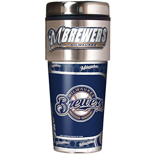 MLB Milwaukee Brewers Metallic Travel Tumbler,  16-Ounce