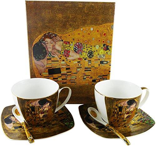Porcellana Tazza e piattino per tazzina da caffè colore: bianco con piattino e cucchiaio set di 2persona