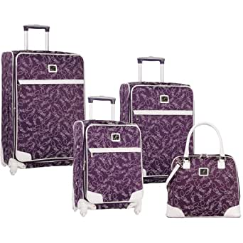 Diane Von Furstenberg Luggage Color On The Go Four Piece Custom Luggage Set, Purple/White, One Size