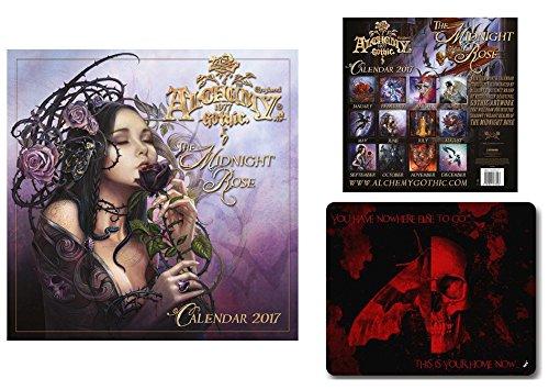 Set: Gothic, Alchemy, Rosa Di Mezzanotte, Calendario Ufficiale 2017 (30x30 cm) E 1x Tappetino Per Mouse (23x19 cm)