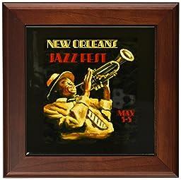 3dRose ft_155435_1 Vintage New Orleans Jazz Poster Framed Tile, 8 by 8-Inch