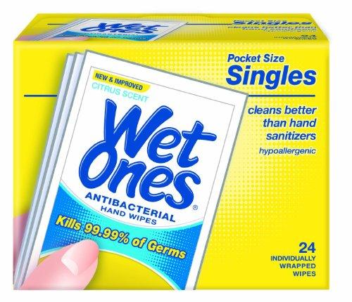 Wet Ones Wipes, Hands & Face, Antibacterial, Citrus Scent, Singles, 24 Ct. front-723471