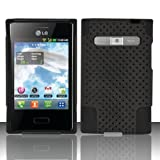 TRENDE - LG Optimus Logic L35g / Dynamic L38c Case Hybrid Design Black Mesh with Black Silicone Sturdy Rubberized Cover + Free TRENDE Gift Box (Compatible Models: LG Optimus Zone (VS410PP), L38G, L35G, L38C)