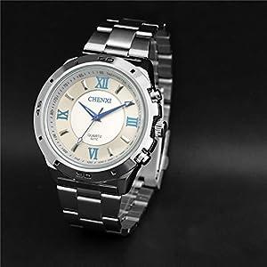Korean Casual Multifunctional Luminous Sport Watch,Roman Numerals Waterproof Quartz Watch For Men-White