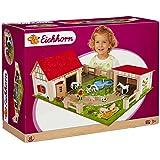 Eichhorn 100004308 - Holz-Bauernhof, inklusive Zubehör, 25-teilig, 36x51 cm, mit Figuren und 2 Gebäuden