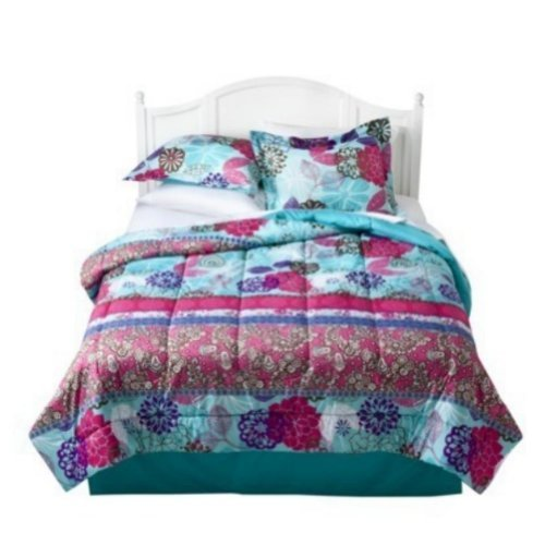 Xhilaration Queen Bed In Bag Floral Eclectic Comforter Sheets Pink Blue Flowers front-328059