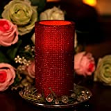 Home-Impressions-lattice-Pattern-Flameless-LED-Pillar-Candle-with-Timer-3-x-6-Red
