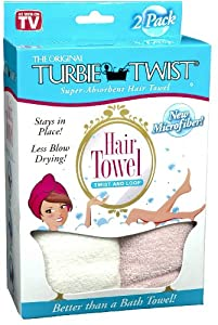 Turbie Twist Microfiber Hair Towel (2 Pack) Pink-White