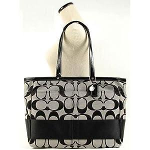 Coach Hamptons Stripe Baby Diaper Multifunction Bag Tote 13803 Black White