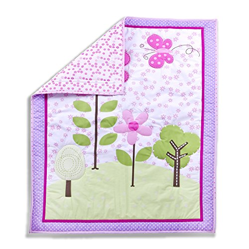 Dream On Me Spring Garden 5 Piece Reversible Full Size Crib Bedding Set. - 1