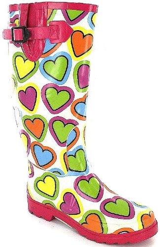 Fuchsia Love Hearts Funky Wellies