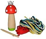 Strickliesel Pilz aus Holz mit Wolle - Strickursel - für Kinder Strickpilz Strickliesl stricken lernen Handarbeit von woody