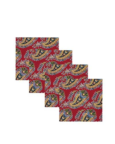 KAF Home Set of 4 Fete Paisley Napkins, Red/Navy/Yellow/Green