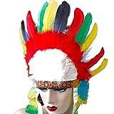 ハロウィン コスプレ インディアン 羽根髪飾り 酋長 レインボー カーニバル コスチューム変装仮装 帽子