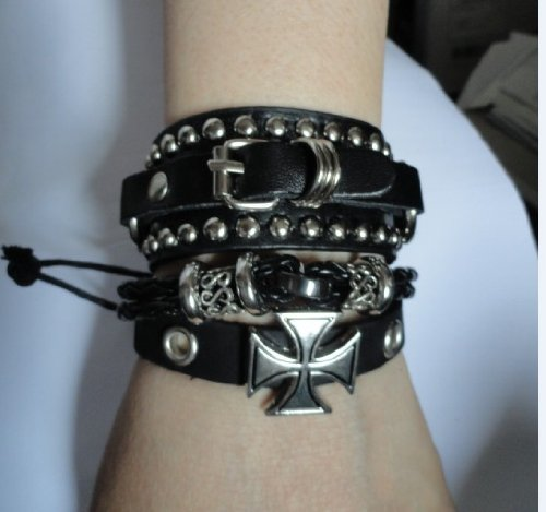 Handmade Multi Layered Black Punk Leather Cross Bracelet