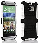 myLife Glacier White + Black {Rugged Design} Two Piece Neo Hybrid (Shockproof Kickstand) Case for the All-New HTC One M8 Android Smartphone - AKA, 2nd Gen HTC One (External Hard Fit Armor With Built in Kick Stand + Internal Soft Silicone Rubberized Flex Gel Full Body Bumper Guard)