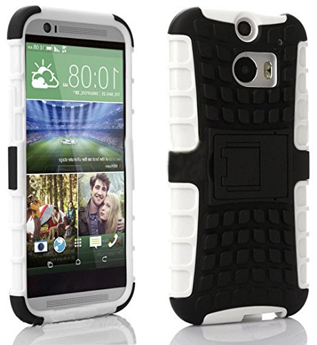 Mylife Glacier White + Black {Rugged Design} Two Piece Neo Hybrid (Shockproof Kickstand) Case For The All-New Htc One M8 Android Smartphone - Aka, 2Nd Gen Htc One (External Hard Fit Armor With Built In Kick Stand + Internal Soft Silicone Rubberized Flex G front-350430