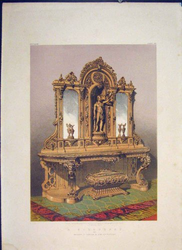 Sideboard Furniture Color Antique Print Old Desk C1862
