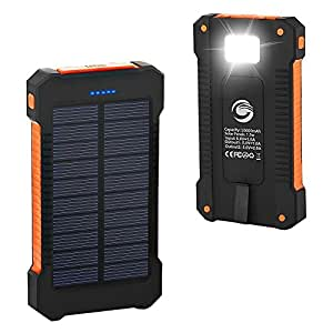 Solar Phone Charger, Grandbeing® 10000mAh Portable Battery Charger Outdoor Dual USB External Battery Pack Solar Power Bank with LED Light and Compass for iPhone iPad & Android Phones, Black Orange
