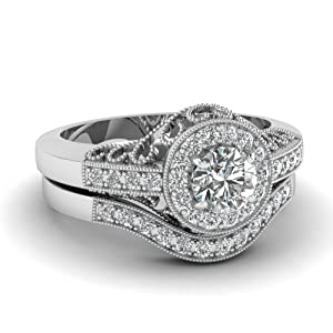 1.10 Ct Round Very Good Cut Diamond Milgrain Engagement Wedding Rings Pave Set 14K GIA Certificate # 1159578180