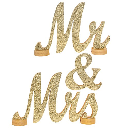 Ling`s moment LARGE VINTAGE Champagne Glitter Mr & Mrs Wooden Letters for Wedding Decoration, NO GLITTER FALLING OFF