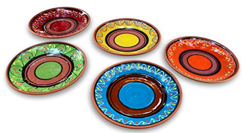 Terracotta Small Dinner Plates Set of 5 (European Size) - Hand Painted From Spain (Mexican Salsa Plate compare prices)
