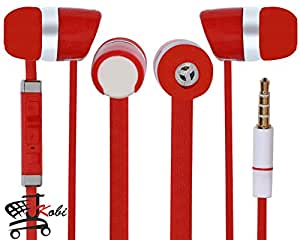 Jkobi Premier Headphones Earphones Handsfree Headset 3.5 mm Jack with Mic Compatible For Motorola Moto X Play -Red