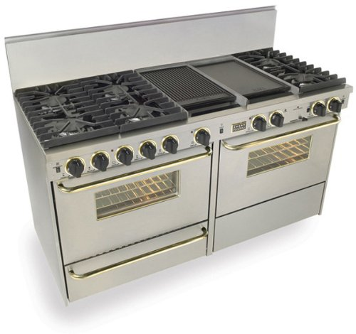 """60"""" Pro-Style Dual-Fuel Natural Gas Range with 6 Sealed Ultra High-Low Burners Two 3.69 cu. ft. Convection Oven Self-Clean and 2 Double Sided Griddle/Grill Stainless Steel with Brass"""