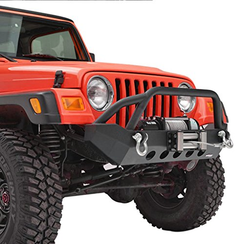 X-restyling Black Textured YJ TJ Jeep Wrangler Front and Rear Bumper with Tire Carrier Combo