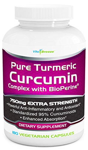 Turmeric Curcumin Complex with BioPerine - 750mg per Capsule, 180 Veg. Caps - Contains Black Pepper (For Superior Absorption and Bio-availability) and 95% Standardized Curcuminoids For Maximum Potency
