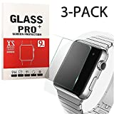 XtreMates [3-Pack]38mm Apple iWatch Screen Protector Tempered Glass Screen Protector [Anti-bubble, Scratch Resistant]
