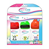 BornCare Wide Neck Easy Grip Feeding Bottle with Silicone Nipple Fast Flow, 6 Months, 8 oz, 3 Piece