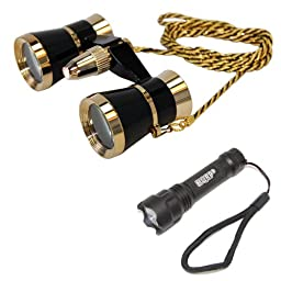 HQRP 3 x 25 Opera Glasses Black with Gold Trim w/ Necklace Chain / with Red Reading Light + Professional Compact Ultra Bright Flashligh