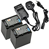 DSTE® 2pcs NP-FV100 Rechargeable Li-ion Battery + Charger DC04U for Sony DCR-SR15, SR21, SR68, SR88, SX15, SX21, SX44, SX45, SX63, SX65, SX83, SX85, HDR-CX105, CX110, CX115, CX130, CX150, CX155, CX160, CX190, CX200, CX210, CX220, CX230, CX260V, CX290, CX