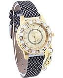 Ubesta Fashion Girls Ladies Women Analog Pendant Crystal Watch Faux Leather Strap Wrist Watch
