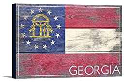 Georgia State Flag - Barnwood Painting (18x12 Gallery Wrapped Stretched Canvas)