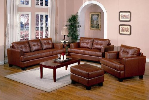 Buy Low Price AtHomeMart 2 PCs Burnt Orange Classic Leather Sofa and Loveseat Set (COAS501591-501592)