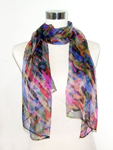 Chiffon Multicolored Palette Print on Black - Silk Scarf 36 x 40