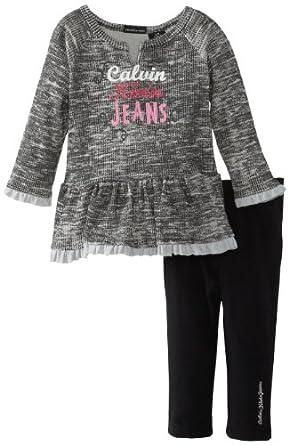 Calvin Klein Baby Girls' Tunic With Black Leggings, Gray, 24 Months