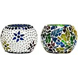 CraftJunction Set Of 2 Handcrafted Mosaic Glass Tea Light Holder(3*3 Inches)