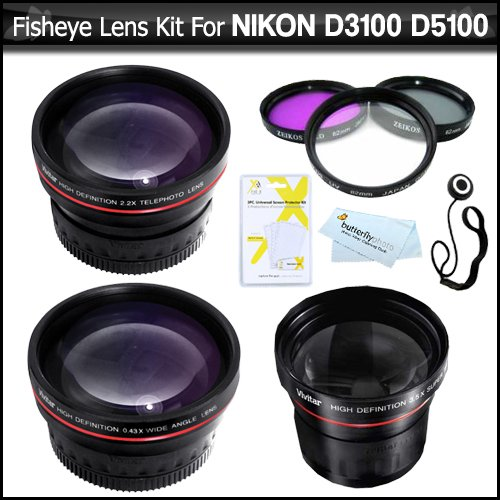 Fisheye Lens Kit For Nikon D5200 D5300 D3200 D3100 D5100 D800 Dslr Camera Which Use (18-55Mm, 55-200Mm, 50Mm) Nikon Lenses Includes Super Wide 0.21X Fisheye Lens + Wide Angle Lens W/ Macro + 2X Telephoto Lens + Multi-Coated 3Pc Filter Kit (Uv-Cpl-Fld) ++
