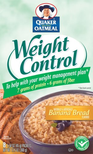 Quaker Instant Oatmeal Weight Control, Banana Bread, 8-Count Boxes (Pack of 4)
