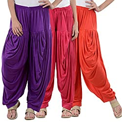 NumBrave Purple,Pink,Red Viscose Dhoti Salwar Combo Of 3
