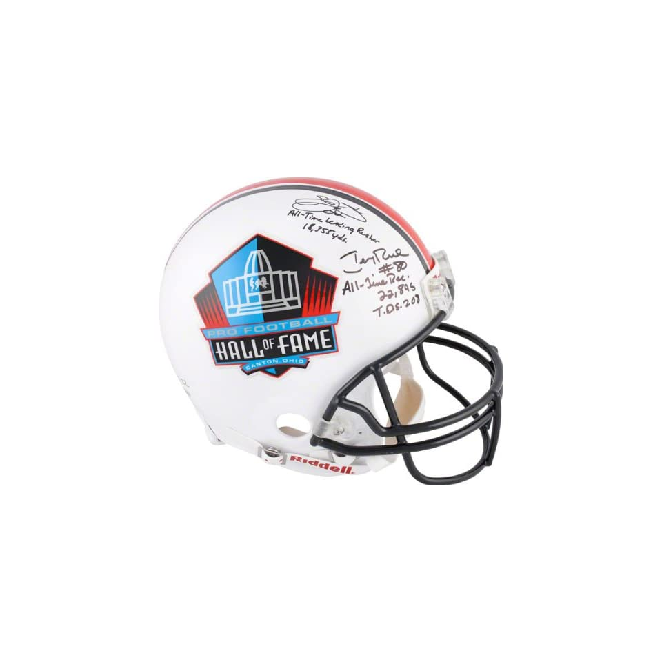 Emmitt Smith and Jerry Rice Autographed Helmet  Details 5 Inscriptions