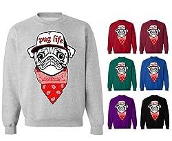 Youth Kids Childrens Pug Life Dog Puppy Bandana Hip Hop Funny Crew Neck Sweatshirt
