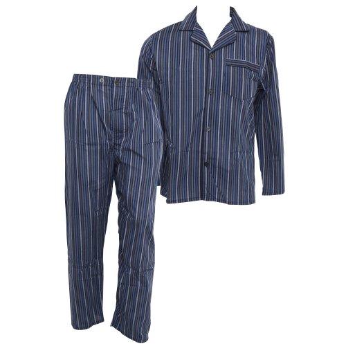Mens Long Sleeve Button Up Top & Trouser Woven Nightwear Pyjama Set (S Chest: 35-37inch ; Waist 29-31inch) (Navy/Stripe)