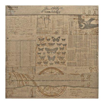 Advantus Corporation Tim Holtz Idea-ology Kraft Resist 12x12 Scrapbooking Paper Stash Pad