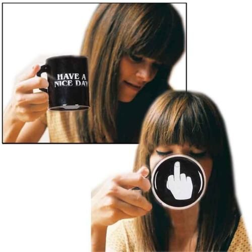 Generic Vansaile Have A Nice Day Coffee Mug Middle Finger Funny Cup for Milk Juice or Tea, Black (Finger Coffee Cup compare prices)